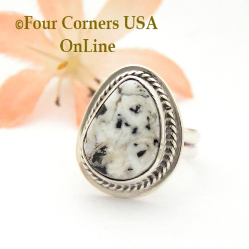 Size 4 3/4 White Buffalo Turquoise Sterling Ring Navajo Artisan Lester Jackson NAR-1817 Four Corners USA OnLine Native American Jewelry