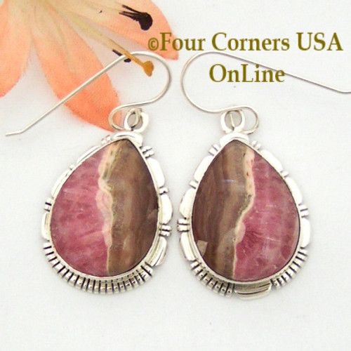 Chocolate Rhodochrosite Sterling Earrings Navajo Artisan Robert Concho NAER-1527 Four Corners USA OnLine Native American Jewelry