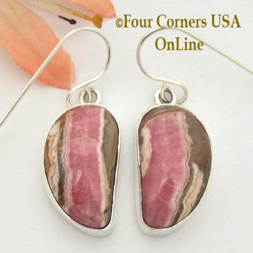 Chocolate Rhodochrosite Sterling Earrings Navajo Artisan Shirley Henry NAER-1530 Four Corners USA OnLine Native American Jewelry