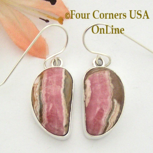 Chocolate Rhodochrosite Sterling Earrings Navajo Artisan Shirley Henry On Sale Now NAER-1530 Four Corners USA OnLine Native American Jewelry