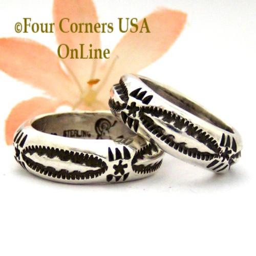 On Sale Now! Sizes 6, 6 1/2, 7 1/4 Stamped Silver Band Ring Navajo Artisan Darrell Cadman NAR-1853 Four Corners USA OnLine Native American Jewelry