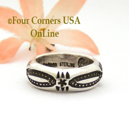Size 5 Stamped Sterling Silver Band Ring Navajo Artisan Darrell Cadman NAR-1854 Four Corners USA OnLine Native American Jewelry