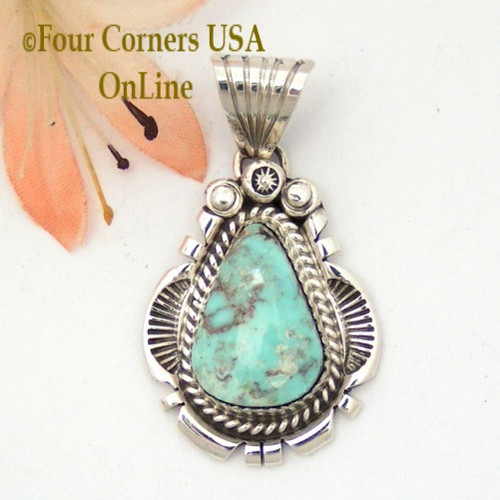 Dry Creek Turquoise Sterling Pendant Navajo Artisan Harry Spencer NAP-1572 Four Corners USA OnLine Native American Jewelry