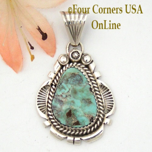 On Sale Now Dry Creek Turquoise Sterling Pendant Navajo Artisan Harry Spencer NAP-1574 Four Corners USA OnLine Native American Jewelry