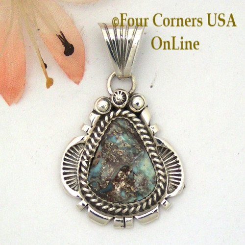 Dry Creek Turquoise Sterling Pendant Navajo Artisan Harry Spencer NAP-1575 Four Corners USA OnLine Native American Jewelry