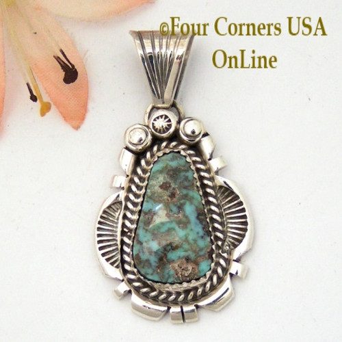 Dry Creek Turquoise Sterling Pendant Navajo Artisan Harry Spencer NAP-1576 Four Corners USA OnLine Native American Jewelry