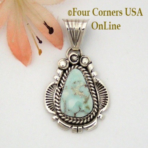 Dry Creek Turquoise Sterling Pendant Navajo Artisan Harry Spencer NAP-1578 Four Corners USA OnLine Native American Jewelry