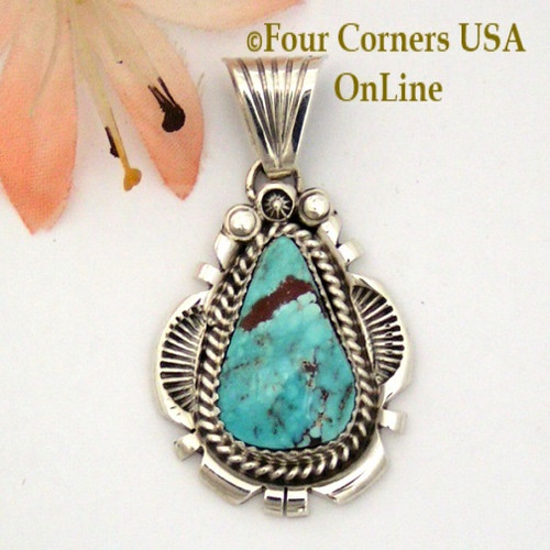 On Sale Now Dry Creek Turquoise Sterling Pendant Navajo Artisan Harry Spencer NAP-1580 Four Corners USA OnLine Native American Jewelry