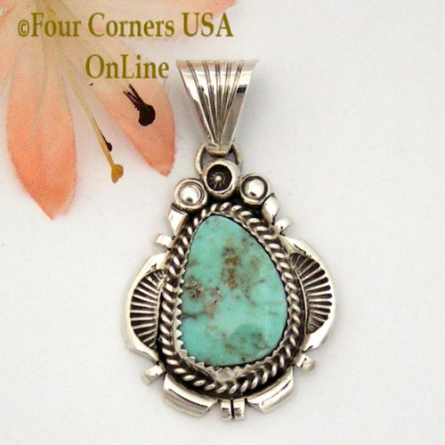 Dry Creek Turquoise Sterling Pendant Navajo Artisan Harry Spencer NAP-1581 Four Corners USA OnLine Native American Jewelry