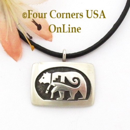Walking Bear Etched Overlay Pendant 18 Inch Leather Cord Necklace Navajo Sonny Gene NAP-1597 Four Corners USA OnLine Native American Jewelry