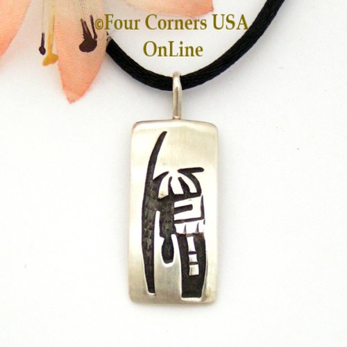 Overlay Sterling Pendant 15 Inch Adjustable Satin Cord Necklace Navajo Artisan Sonny Gene NAP-1599 Four Corners USA OnLine Native American Artisan Jewelry
