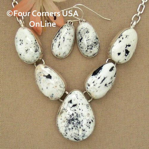 Special Buy 5 Stone White Buffalo Turquoise Necklace Earring Jewelry Set Navajo Lyle Piaso NAN-1433 Four Corners USA OnLine Native American Jewelry