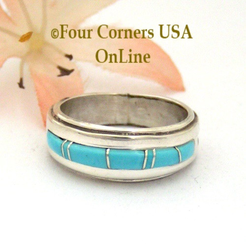 Size 5 1/2 Turquoise Inlay Band Ring Navajo Artisan Wilbert Muskett Jr WB-1683 Four Corners USA Online Native American Jewelry