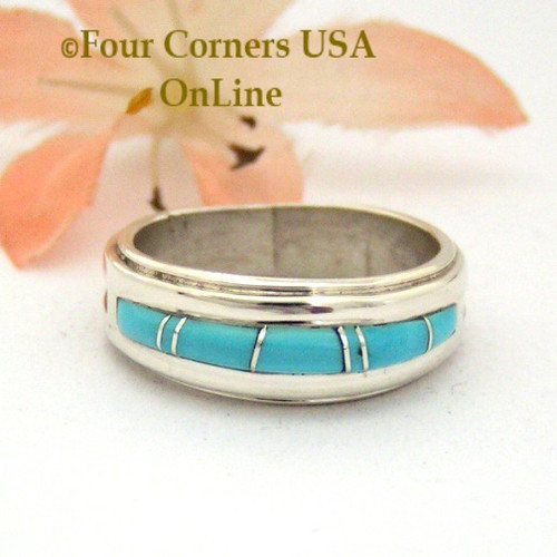 Size 6 1/2 Turquoise Inlay Band Ring Navajo Artisan Wilbert Muskett Jr WB-1685 Four Corners USA Online Native American Jewelry