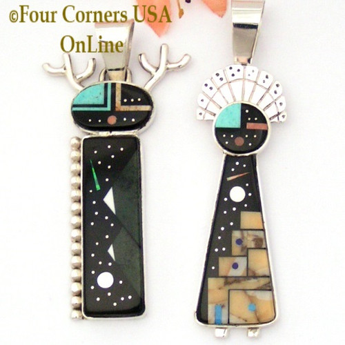 Starry Night Native American Deer and SunFace Kachina Dancers Pendant Set Navajo Artisan Calvin Desson NAP-1656 Four Corners USA OnLine Native American Jewelry