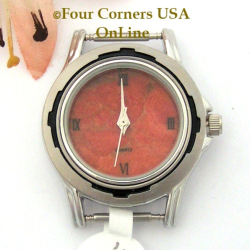 5W - Women's Natural Apple Coral Stainless Watch Face 12mm pin NAWF-AC-5W Four Corners USA OnLine