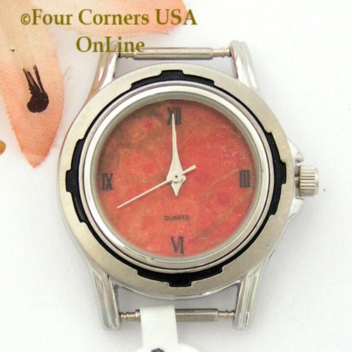 24W - Women's Natural Apple Coral Stainless Watch Face 12mm pin NAWF-AC-24W Four Corners USA OnLine