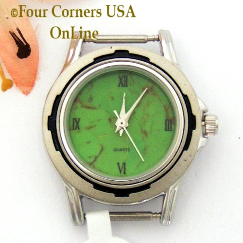 16W - Women's Mohave Green Kingman Turquoise Stone Stainless Watch Face 12mm pin NAWF-MG-16W Four Corners USA OnLine