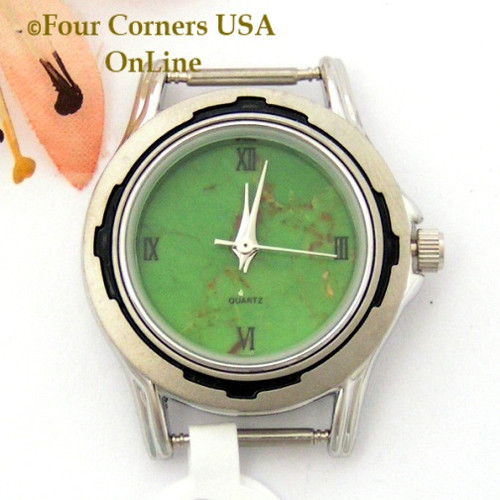 17W - Women's Mohave Green Kingman Turquoise Stone Stainless Watch Face 12mm pin NAWF-MG-17W Four Corners USA OnLine