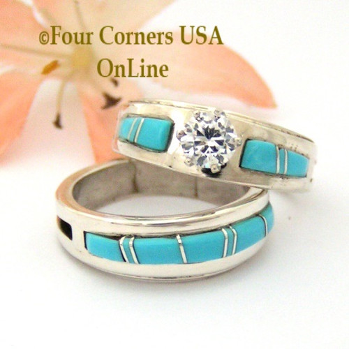 Size 6 1/2 Turquoise Engagement Bridal Wedding Ring Set Native American Wilbert Muskett Jr WS-1575 Four Corners USA OnLine Navajo Silver Jewelry
