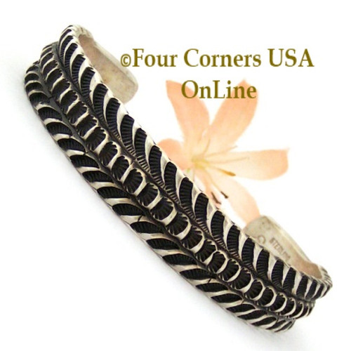 On Sale Now Stamped Silver Cuff Bracelet Navajo Emerson Bill Four Corners USA OnLine Native American Jewelry NAC-1439