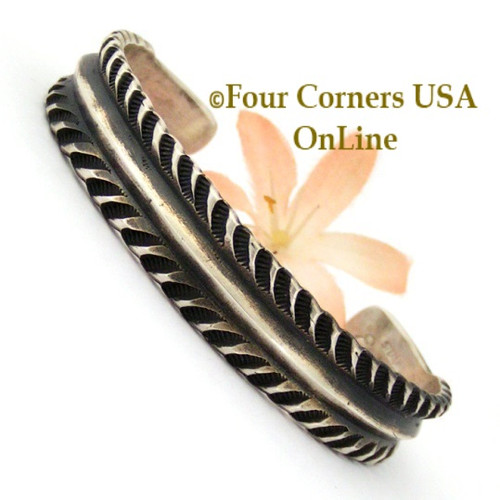 Stamped Silver Cuff Bracelet Navajo Emerson Bill Native American Jewelry On Sale Now NAC-1442 Four Corners USA OnLine