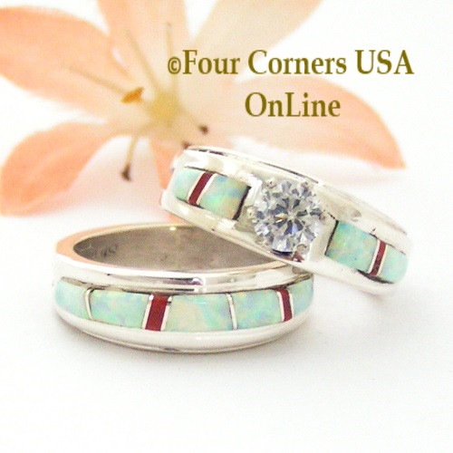 Size 5 1/2 White Fire Opal and Coral Engagement Bridal Wedding Ring Set Native American Wilbert Muskett Jr WS-1589 Four Corners USA OnLine Navajo Silver Jewelry