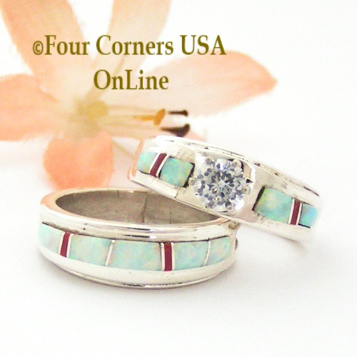 Size 6 1/2 White Fire Opal and Coral Engagement Bridal Wedding Ring Set Native American Wilbert Muskett Jr WS-1591 Four Corners USA OnLine Navajo Silver Jewelry