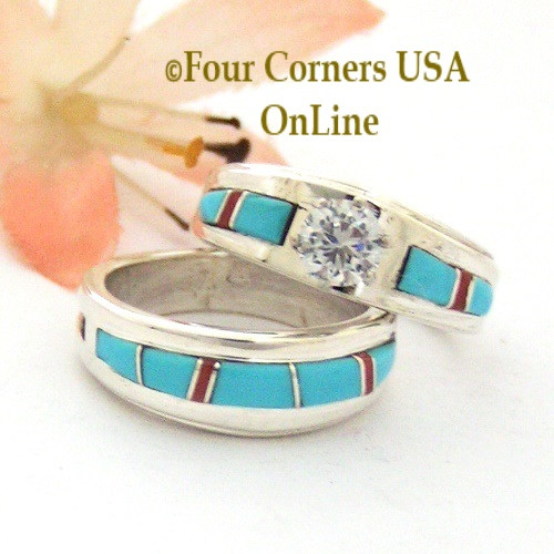 Size 5 1/2 Turquoise Red Coral Engagement Bridal Wedding Ring Set Native American Wilbert Muskett Jr WS-1592 Four Corners USA OnLine Navajo Silver Jewelry