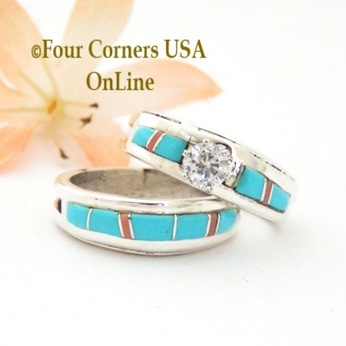 Size 8 Turquoise Pink Coral Engagement Bridal Wedding Ring Set Native American Wilbert Muskett Jr WS-1595 Four Corners USA OnLine Navajo Silver Jewelry