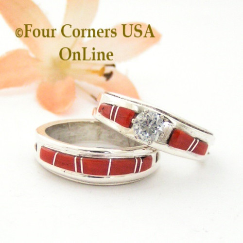 Size 8 1/2 Red Coral Engagement Bridal Wedding Ring Set Native American Wilbert Muskett Jr WS-1599 Four Corners USA Navajo Silver Jewelry