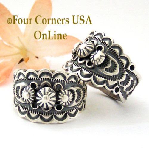 On Sale Now! Sizes 7, 9, 10 Stamped Sterling Silver Band Ring Navajo Artisan Bennie Ramone NAR-1855 Four Corners USA OnLine Native American Jewelry