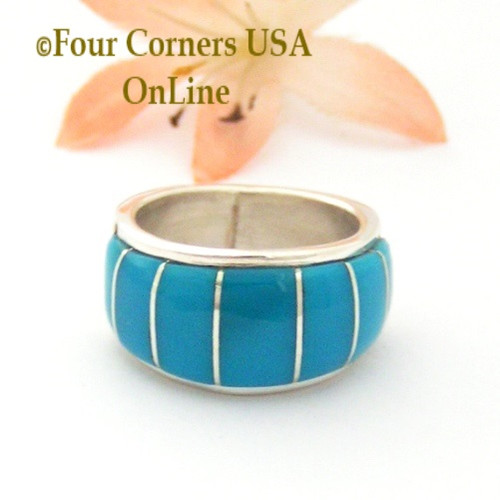 Size 8 Blue Turquoise Inlay Wide Band Ring Native American Ella Cowboy NAR-1858 Four Corners USA OnLine Navajo Silver Jewelry