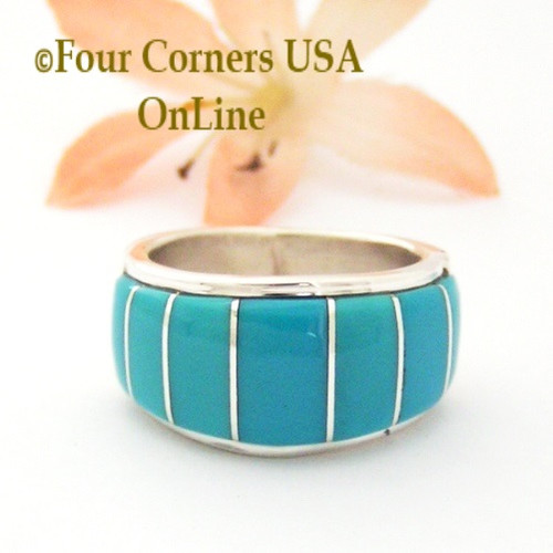 Size 8 1/2 Blue Turquoise Inlay Wide Band Ring Native American Ella Cowboy NAR-1859 Four Corners USA OnLine Navajo Silver Jewelry