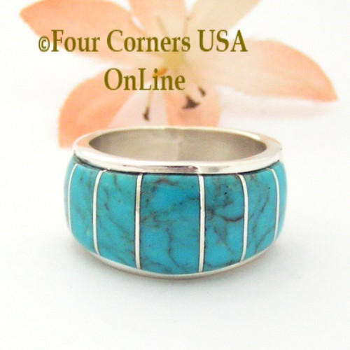 Size 9 1/2 Blue Turquoise Inlay Wide Band Ring Native American Ella Cowboy NAR-1862 Four Corners USA OnLine Navajo Silver Jewelry