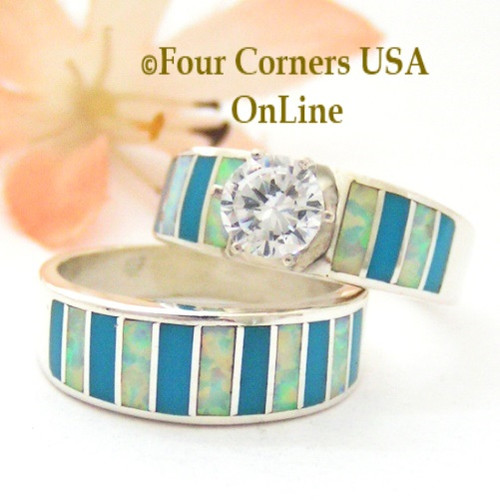 Size 7 1/2 Turquoise Inlay Opal Wedding Engagement Ring Set Navajo Ella Cowboy WS-1608 Four Corners USA OnLine Navajo Silver Jewelry