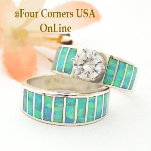Size 5 1/2 Inlay Light Blue Fire Opal Bridal Wedding Engagement Ring Set Size with Round Cubic Zirconia set in Sterling Silver WS-1611 Navajo Artisan Ella Cowboy Four Corners USA OnLine Navajo Silver Jewelry