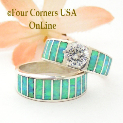 Size 6 Inlay Light Blue Fire Opal Bridal Wedding Engagement Ring Set Size with Round Cubic Zirconia set in Sterling Silver WS-1612 Navajo Artisan Ella Cowboy Four Corners USA OnLine Navajo Silver Jewelry