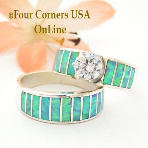 Size 7 1/2 Inlay Light Blue Fire Opal Bridal Wedding Engagement Ring Set Size with Round Cubic Zirconia set in Sterling Silver WS-1615 Navajo Artisan Ella Cowboy Four Corners USA OnLine Navajo Silver Jewelry