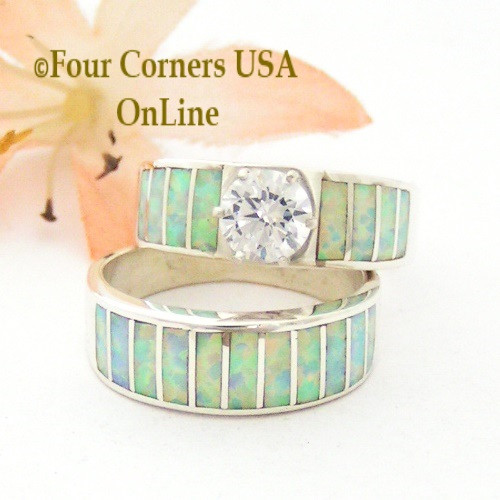 Size 7 White Fire Opal Round Solitaire Wedding Engagement Ring Set Navajo Ella Cowboy WS-1618 Four Corners USA OnLine Native American Silver Jewelry