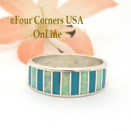 Size 7 Turquoise and White Fire Opal Inlay Ring Native American Ella Cowboy WB-1688 Four Corners USA OnLine Navajo Silver Jewelry