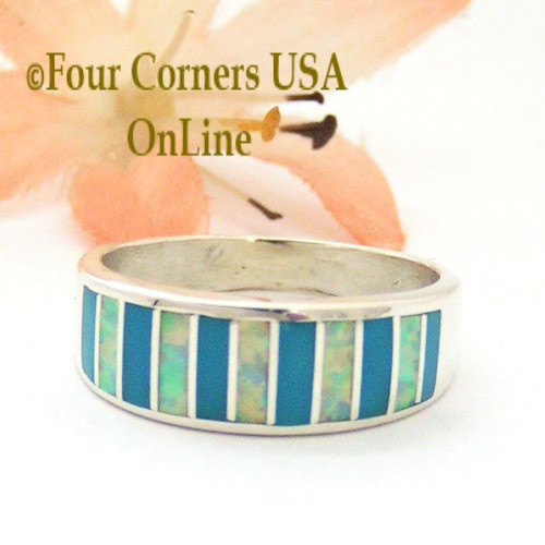 Size 8 Turquoise and White Fire Opal Inlay Ring Native American Ella Cowboy WB-1689 Four Corners USA OnLine Navajo Silver Jewelry