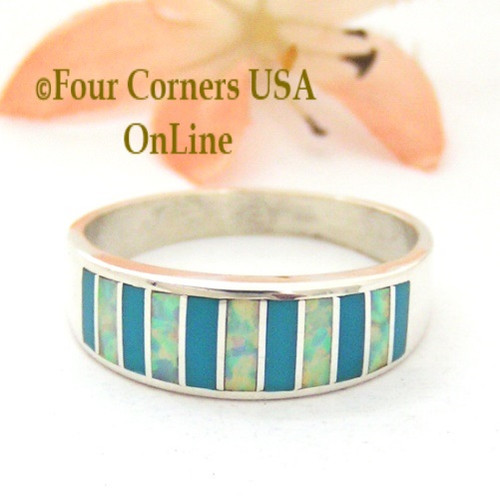 Size 10 1/2 Turquoise and White Fire Opal Inlay Ring Native American Ella Cowboy WB-1692 Four Corners USA OnLine Navajo Silver Jewelry