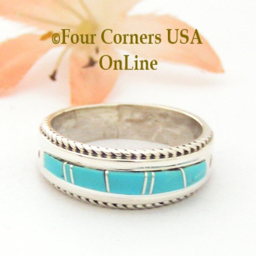 Size 9 1/4 Turquoise Inlay Band Ring Navajo Artisan Wilbert Muskett Jr Four Corners USA OnLine Native American Jewelry
