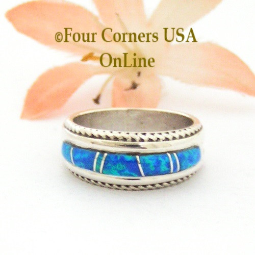 Size 5 1/2 Blue Fire Opal Inlay Band Ring Navajo Artisan Wilbert Muskett Jr Four Corners USA OnLine Native American Jewelry