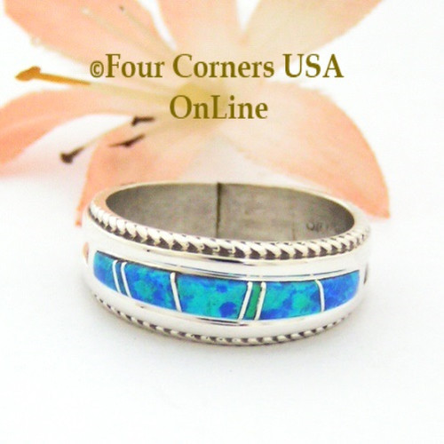Size 8 Blue Fire Opal Inlay Band Ring Navajo Artisan Wilbert Muskett Jr Four Corners USA OnLine Native American Jewelry