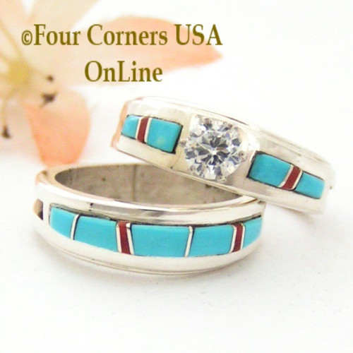 Size 7 1/2 Turquoise Red Coral Engagement Bridal Wedding Ring Set Native American Wilbert Muskett Jr WS-1625 Four Corners USA OnLine Navajo Silver Jewelry