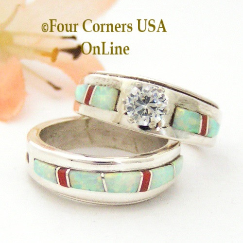 Size 5 1/2 White Fire Opal and Coral Engagement Bridal Wedding Ring Set Native American Wilbert Muskett Jr WS-1628 Four Corners USA OnLine Navajo Silver Jewelry
