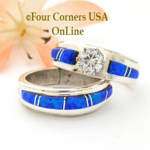 Size 5 1/2 Blue Fire Opal Engagement Bridal Wedding Ring Set Navajo Wilbert Muskett Jr WS-1637 Four Corners USA OnLine Native American Jewelry