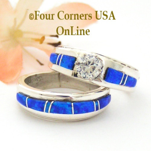 Size 6 Blue Fire Opal Engagement Bridal Wedding Ring Set Navajo Wilbert Muskett Jr WS-1638 Four Corners USA OnLine Native American Jewelry